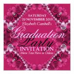 Invitación rosada de la fiesta de graduación del