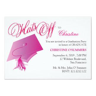 Invitación rosada de la fiesta de graduación del invitación 11,4 x 15,8 cm