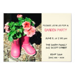 Invitación rosada de la fiesta de jardín de la