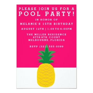 Invitación rosada de la fiesta en la piscina de la