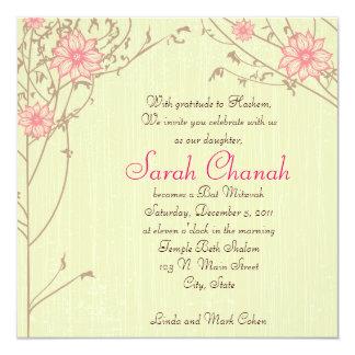 Invitación rosada de la flor