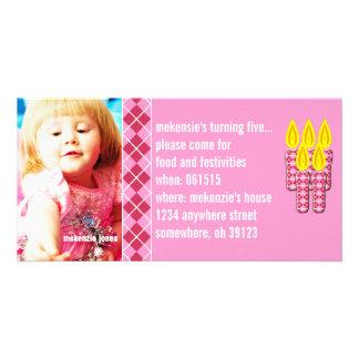 Invitación rosada de la foto de Argyle Birthdy Tarjetas Fotográficas Personalizadas