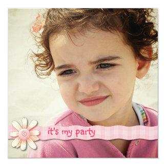Invitación rosada de la foto de la cinta de la invitación 13,3 cm x 13,3cm