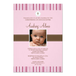 Invitación rosada de la foto de la raya del invitación 12,7 x 17,8 cm