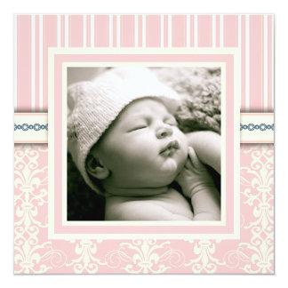 Invitación rosada de la foto del damasco del invitación 13,3 cm x 13,3cm