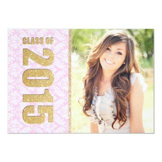 Invitación rosada de la graduación de la foto del invitación 12,7 x 17,8 cm