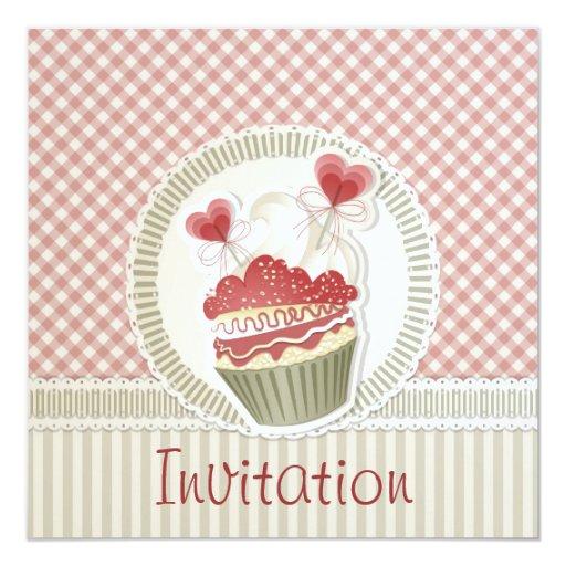 Invitación rosada de la magdalena invitación 13,3 cm x 13,3cm