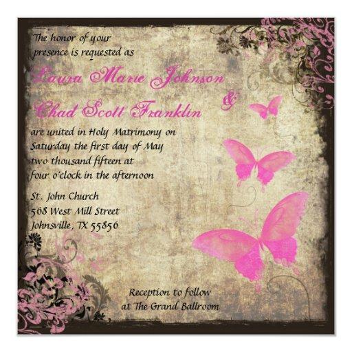 Invitación rosada de la mariposa del vintage invitación 13,3 cm x 13,3cm