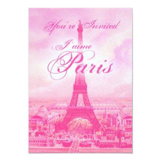 Invitación rosada de la torre Eiffel del vintage