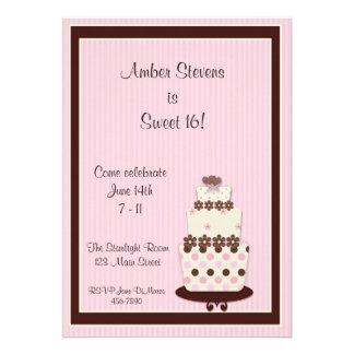 Invitación rosada de la torta