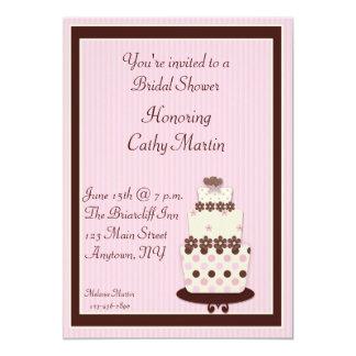 Invitación rosada de la torta de Brown