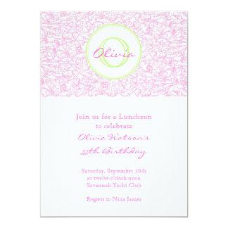 Invitación rosada de la voluta del Julep Invitación 12,7 X 17,8 Cm