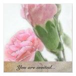 Invitación rosada de los claveles invitación 13,3 cm x 13,3cm