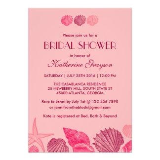 Invitación rosada de los Seashells para el boda