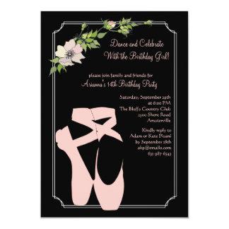 Invitación rosada de los zapatos de dedo del pie invitación 12,7 x 17,8 cm