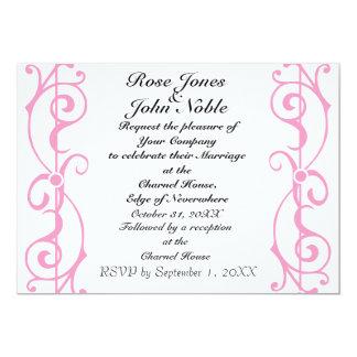 Invitación (rosada) de marfil del boda de la