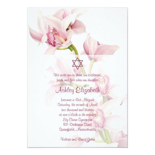 Invitación rosada de Mitzvah del palo de la