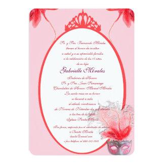 Invitación rosada de Quinceanera de la máscara Card