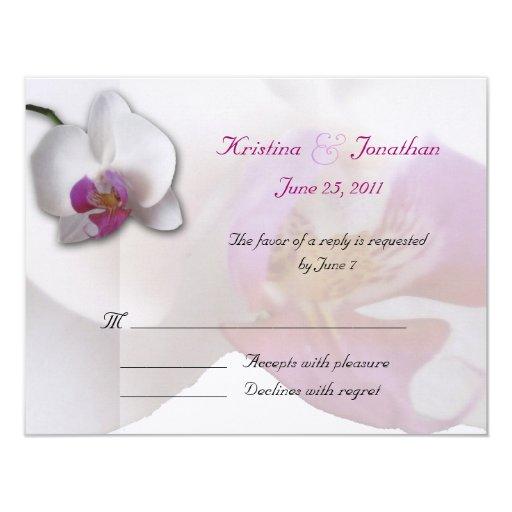 Invitación rosada de RSVP 5.5x4.25 de la orquídea