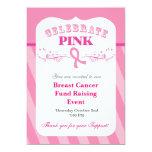 Invitación rosada del acontecimiento del cáncer de invitación 12,7 x 17,8 cm