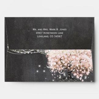 Invitación rosada del árbol de la hoja del corazón sobre