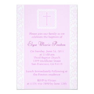 Invitación rosada del bautismo/del bautizo