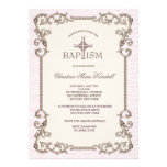 Invitación rosada del bautismo del Viejo Mundo