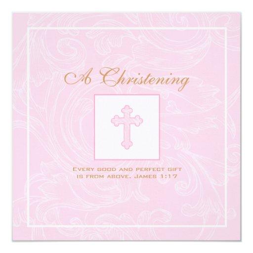 Invitación rosada del bautizo de la voluta