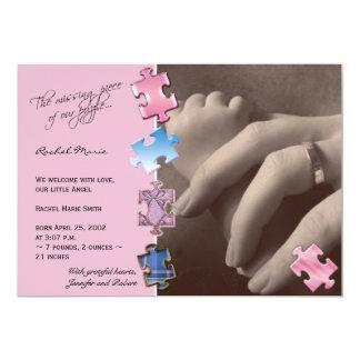 Invitación rosada del bebé de la foto del