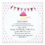 Invitación rosada del bebé de la magdalena invitación 13,3 cm x 13,3cm