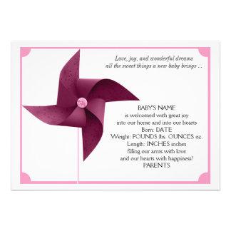 Invitación rosada del bebé del molinillo de viento