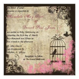 Invitación rosada del Birdcage del boda del vintag
