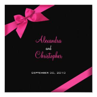 Invitación rosada del boda de la cinta
