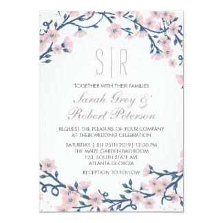 Invitación rosada del boda de la flor de la flor