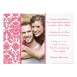 Invitación rosada del boda de la foto del damasco