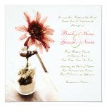 Invitación rosada del boda de la margarita invitación 13,3 cm x 13,3cm