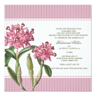 Invitación rosada del boda de la orquídea de invitación 13,3 cm x 13,3cm
