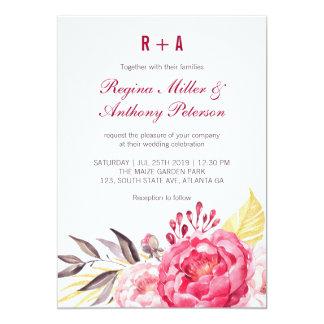 Invitación rosada del boda de la rosaleda de la
