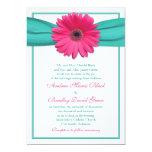 Invitación rosada del boda de la turquesa de la