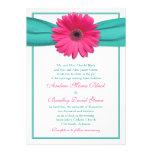 Invitación rosada del boda de la turquesa de la ma