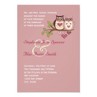 Invitación rosada del boda de Sweethoots Invitación 12,7 X 17,8 Cm