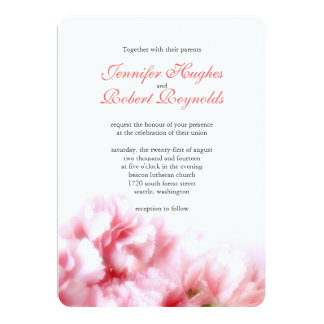Invitación rosada del boda del clavel
