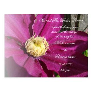 Invitación rosada del boda del Clematis Postales