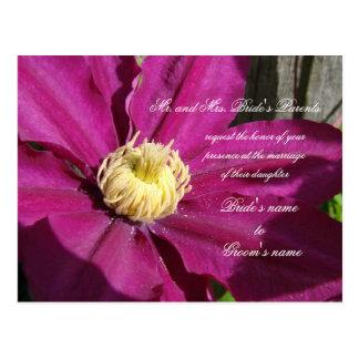 Invitación rosada del boda del Clematis Tarjetas Postales