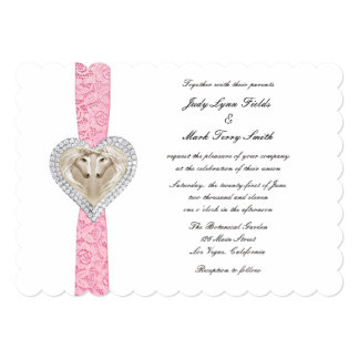 Invitación rosada del boda del cordón del