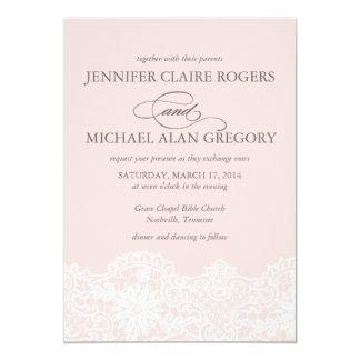 Invitación rosada del boda del cordón del ballet