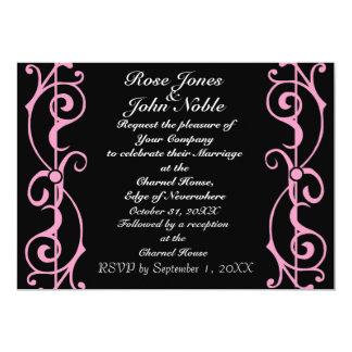 Invitación (rosada) del boda del ébano de la