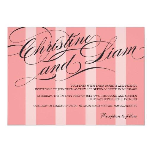 Invitación rosada del boda del Flourish de las