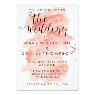 Invitación rosada del boda del fondo de la