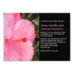 Invitación rosada del boda del hibisco